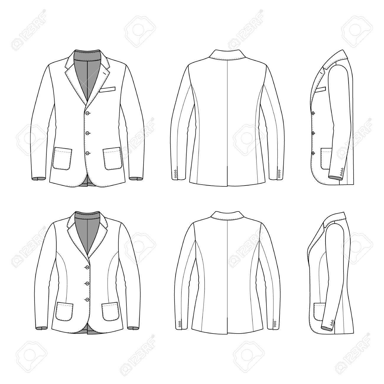 Blank Mens Und Womens Kleidung In Weißen Farben Gesetzt. Leere ...