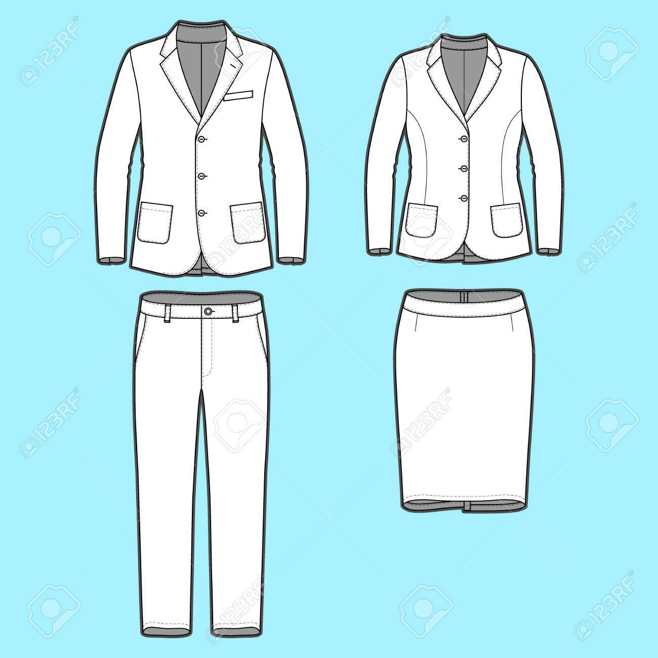 a205adfc8 Ropa En Blanco Para Hombre Y Mujer En Colores Blancos. Plantilla En Blanco  De Blazers Clásicos, Pantalones Y Falda En Vista Frontal. Estilo Casual.