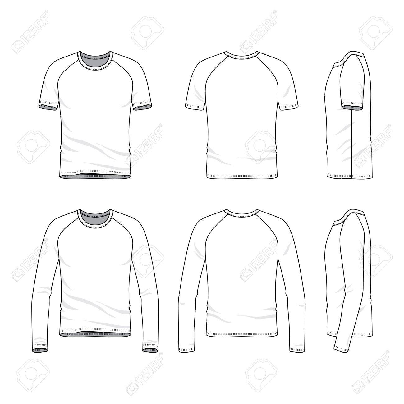 Vector Templates Of Clothing Set Front Back Side Views Blank Raglan Sleeves