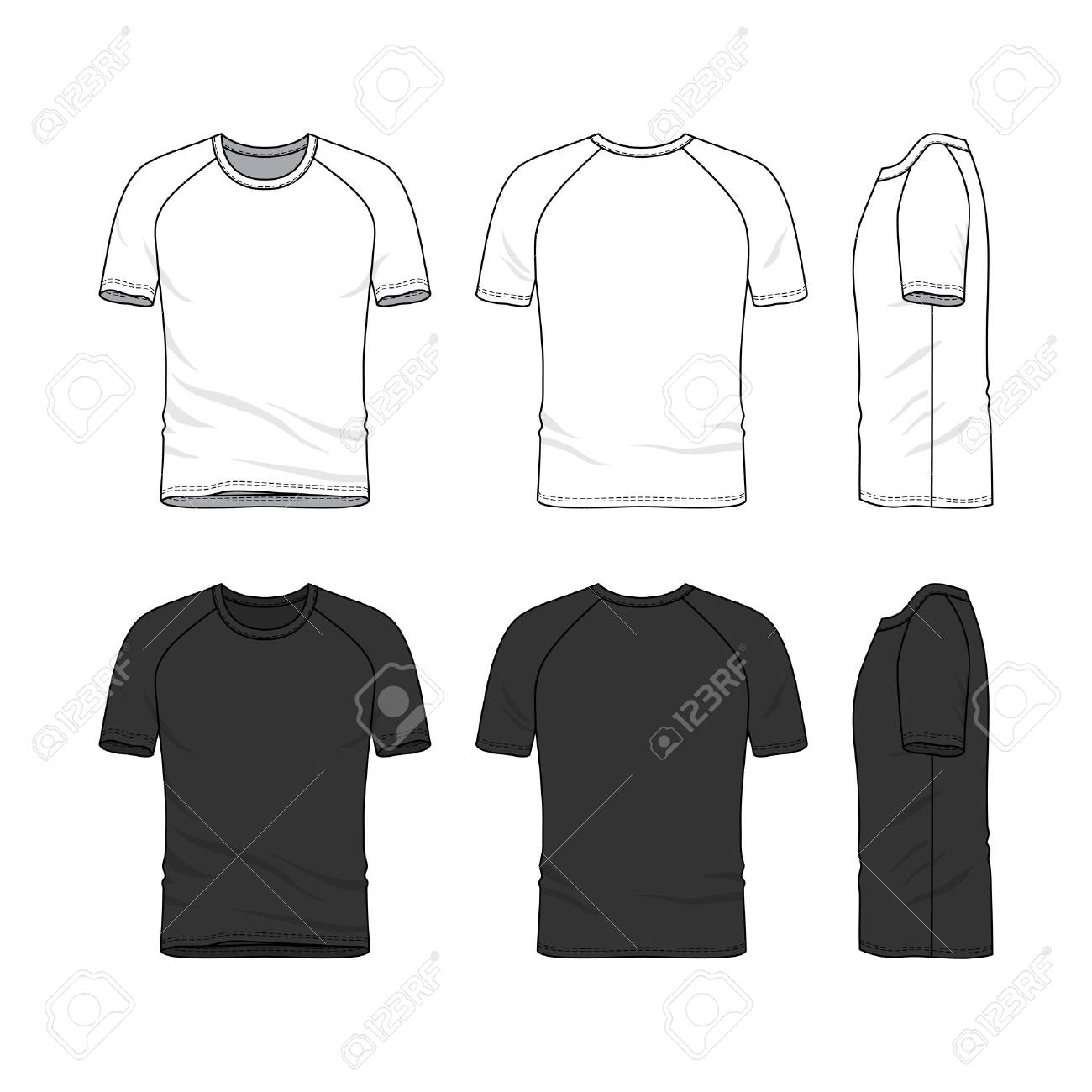 vector templates of clothing set front back side views of stock