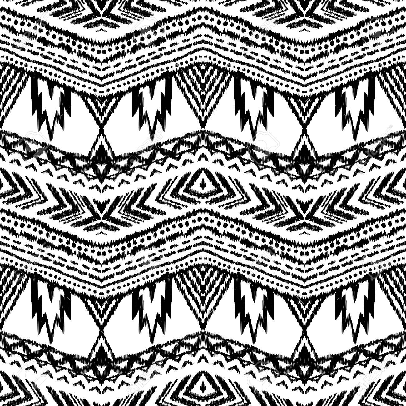 Ikat Seamless Pattern In Mexican Indian Style Black And White