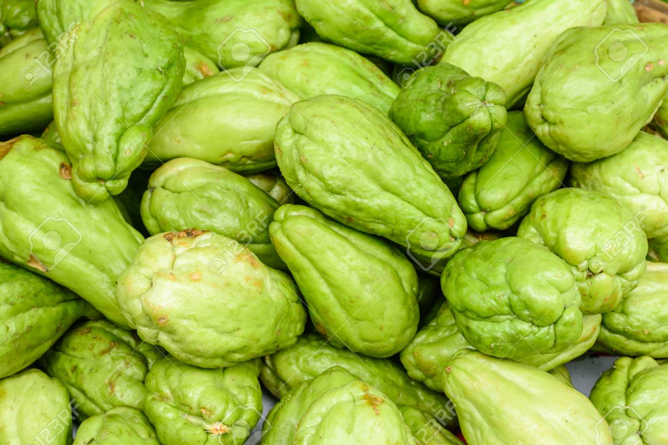closeup photo of fresh vegetable marrow or chayote stock photo