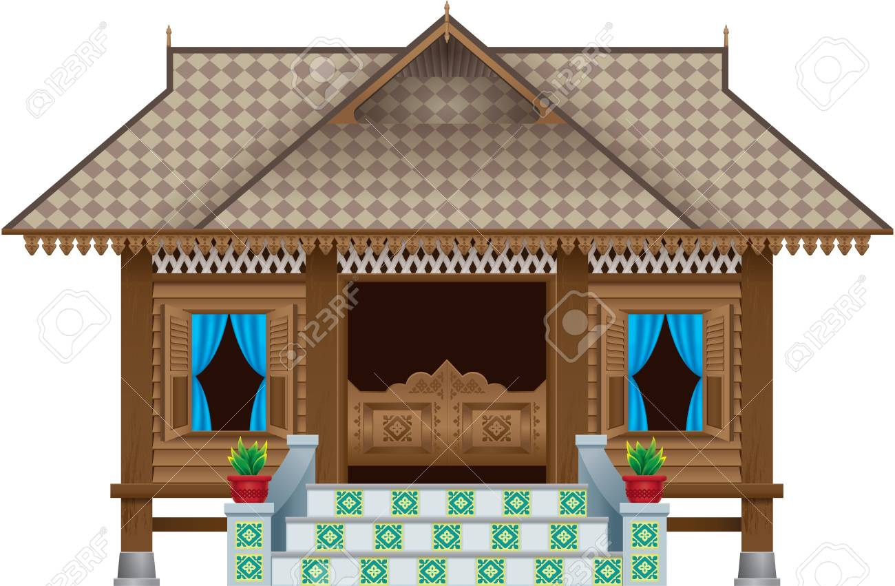 A beautiful traditional wooden Malay style village house. scene. Isolated. - 99860870