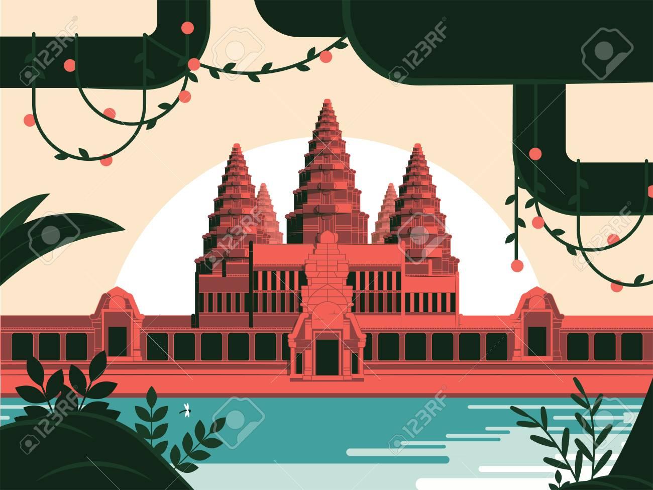 Angkor Wat Khmer temple in Siem Reap illustration - 107660827