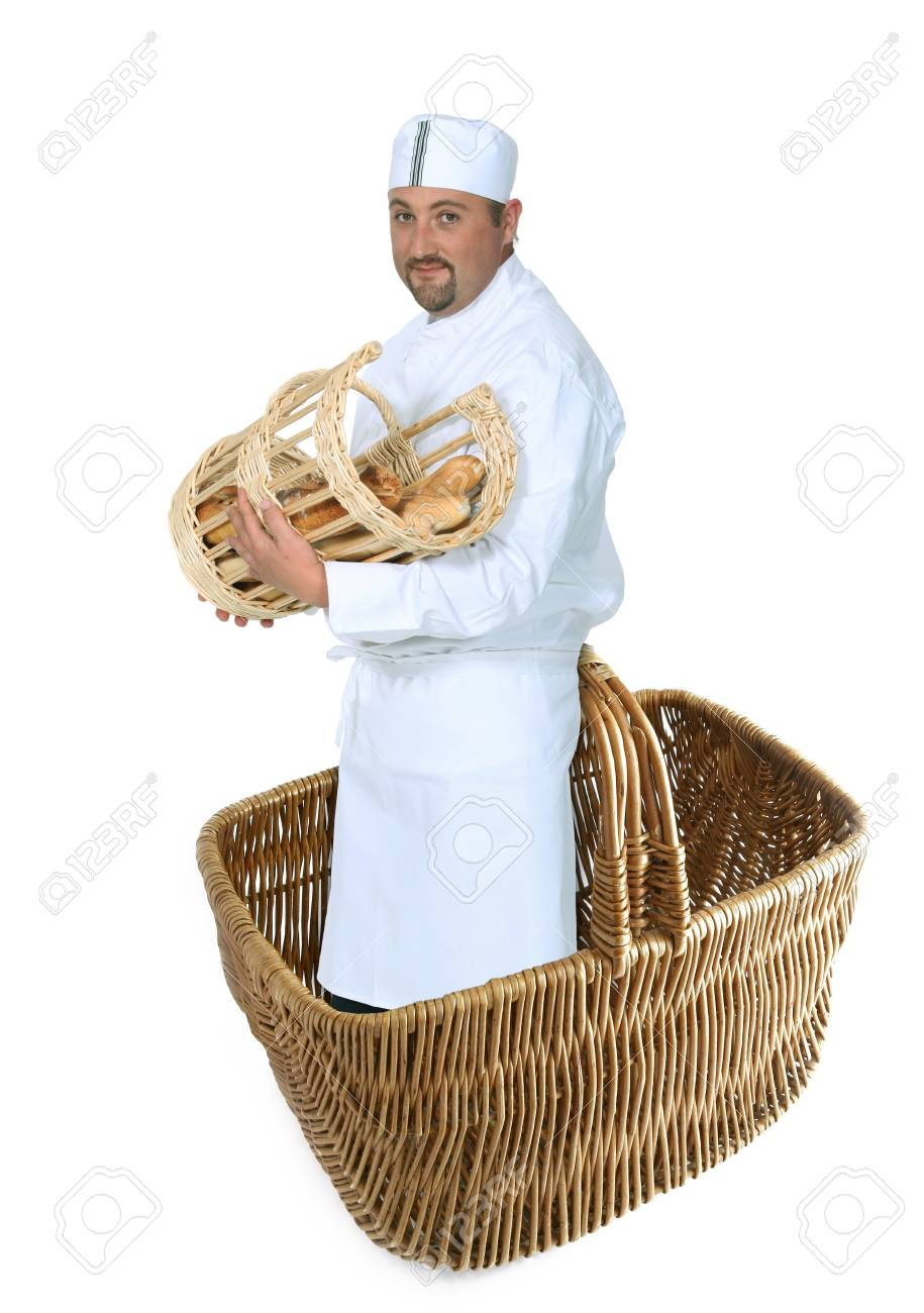 baker in a basket holding a basket full with bread Stock Photo - 10782685