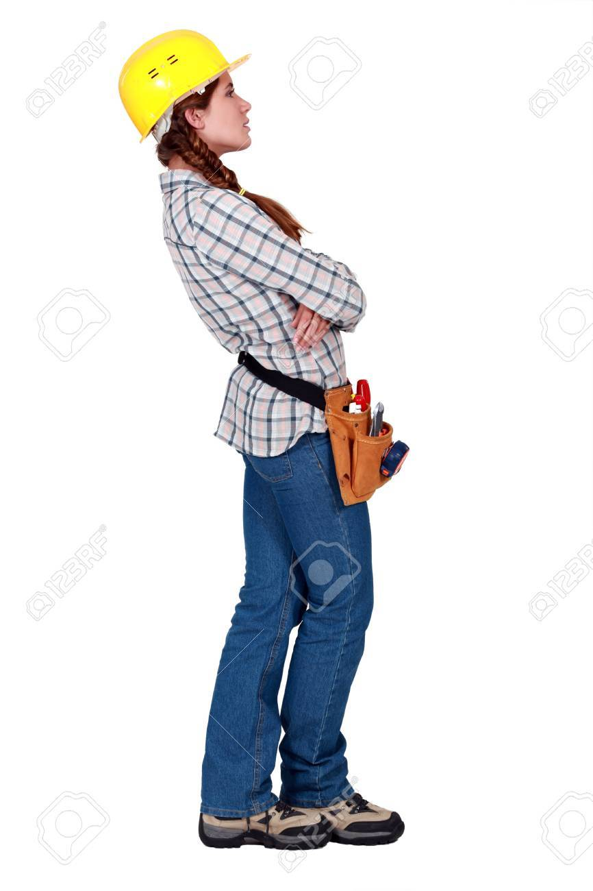A female construction worker looking away. Stock Photo - 10782397
