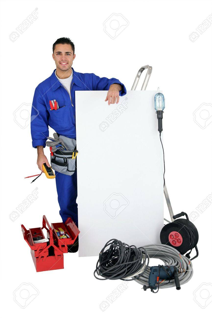 Electrician on white background Stock Photo - 10852004