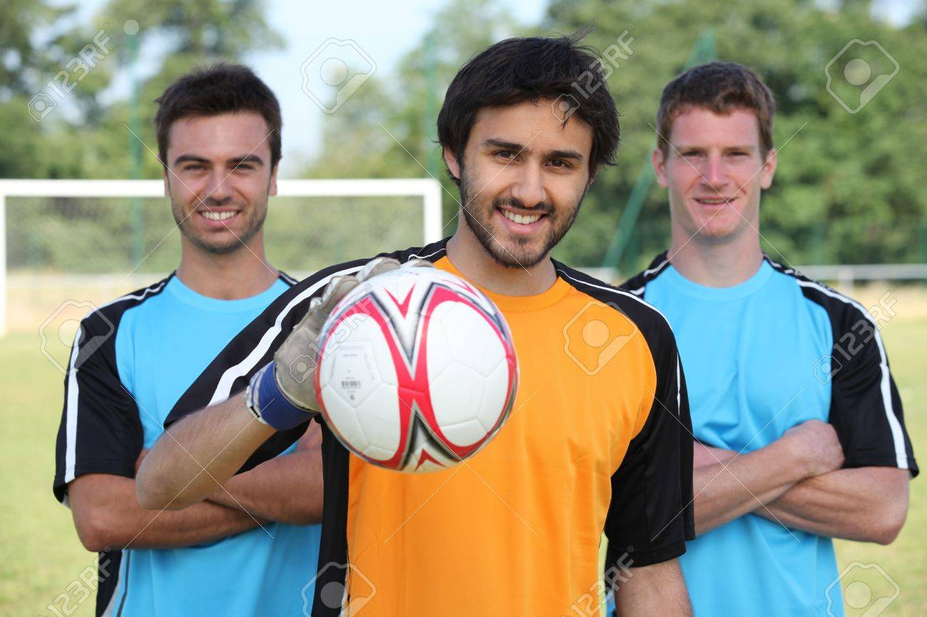 Three football team mates Stock Photo - 10853345