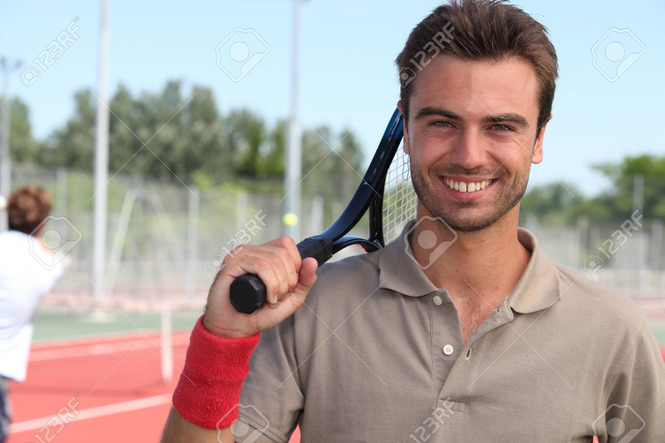 tennis player with racket Stock Photo - 10854992