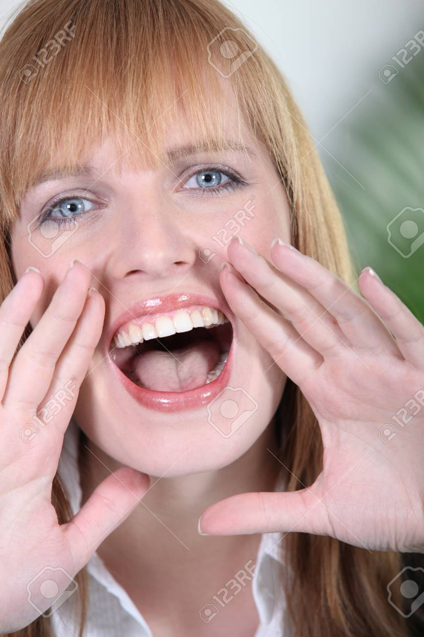 Closeup of a woman screaming Stock Photo - 10855390