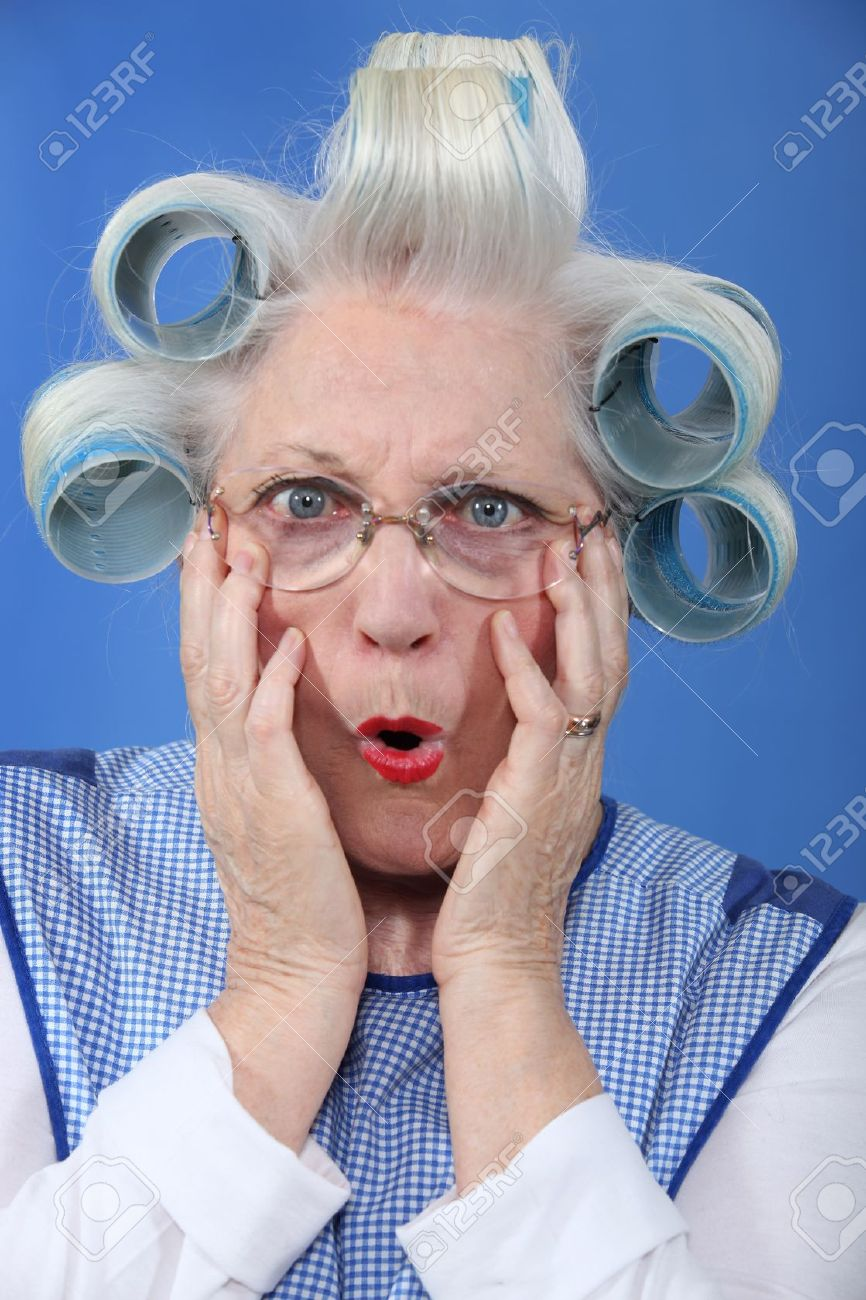 blue-eyed granny with giant hair curlers Stock Photo - 10855402
