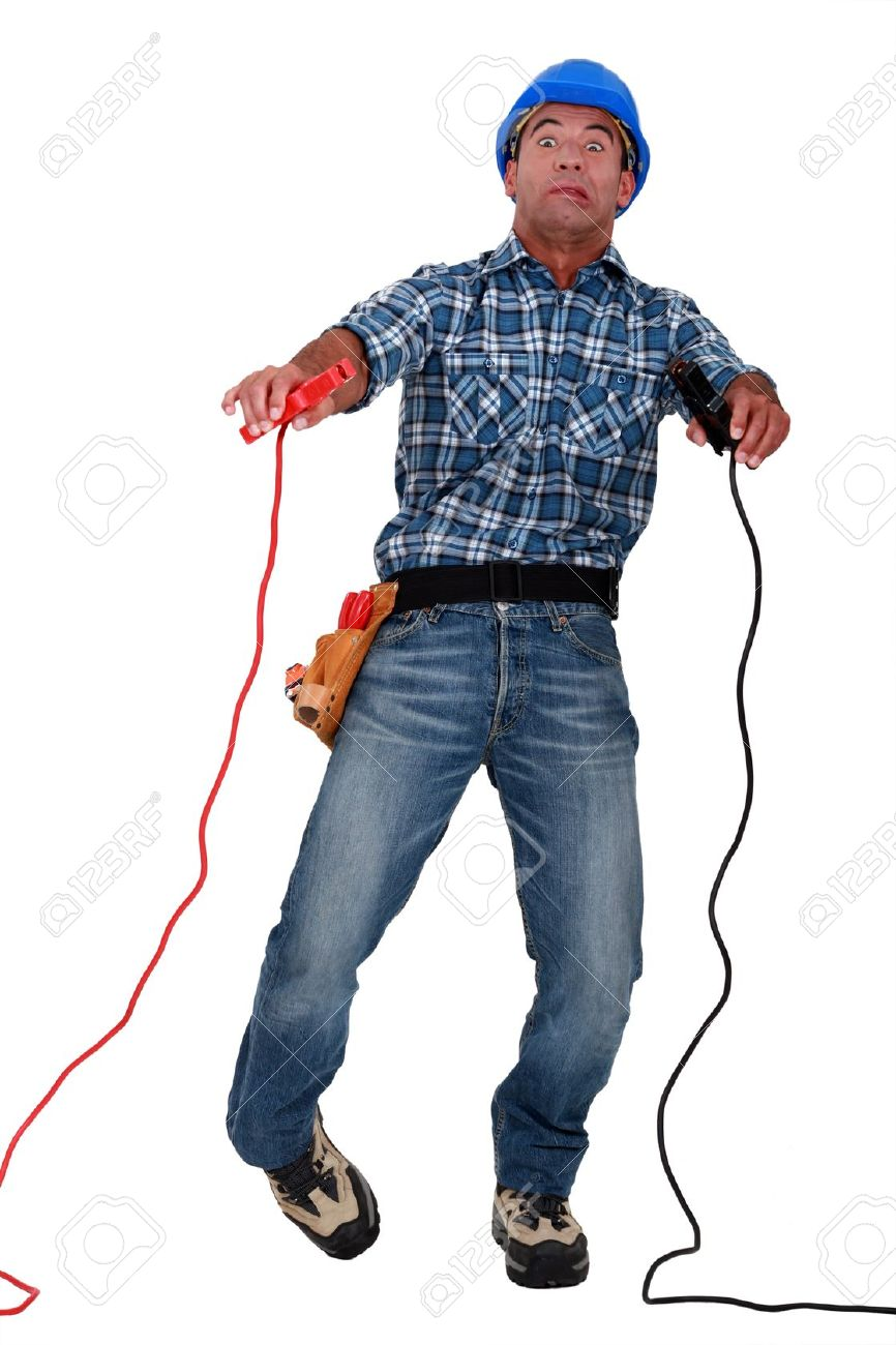 electrician being electrocuted Stock Photo - 10855137