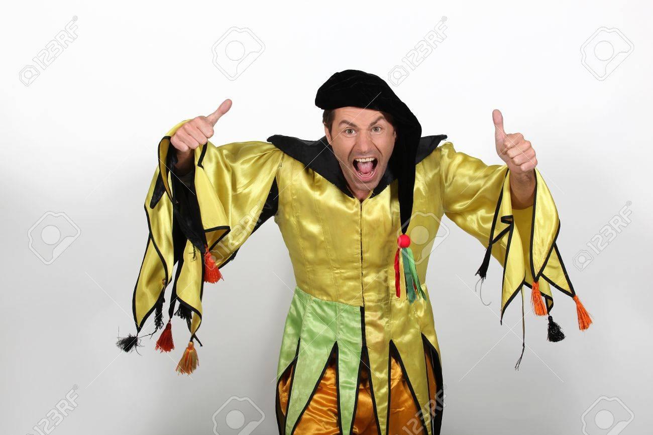Man In Court Jester Fancy Dress Costume Stock Photo   11176014