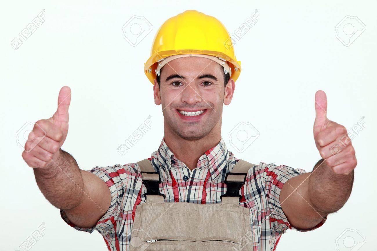 Tradesman giving two thumb Stock Photo - 11717827