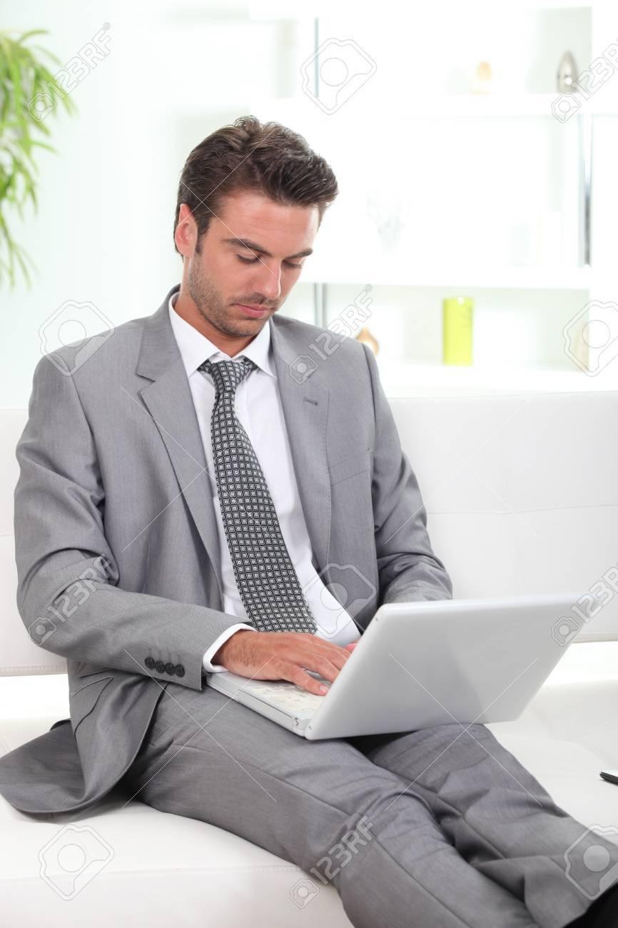 Businessman using a laptop Stock Photo - 11132435