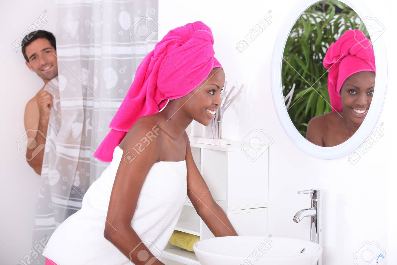 portrait of a young woman in bathroom Stock Photo - 11135926