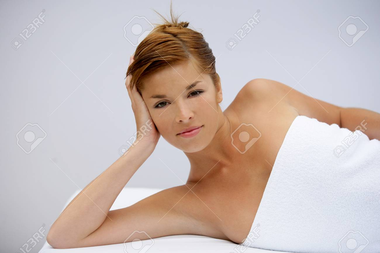 Woman laying on massage table Stock Photo - 11393919