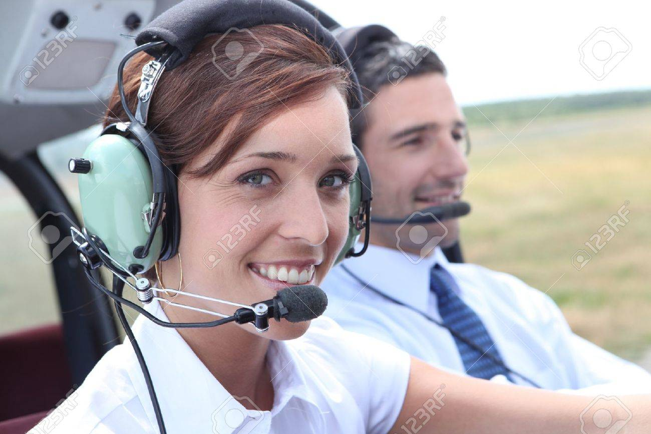 Female pilot of a light aircraft - 11456959