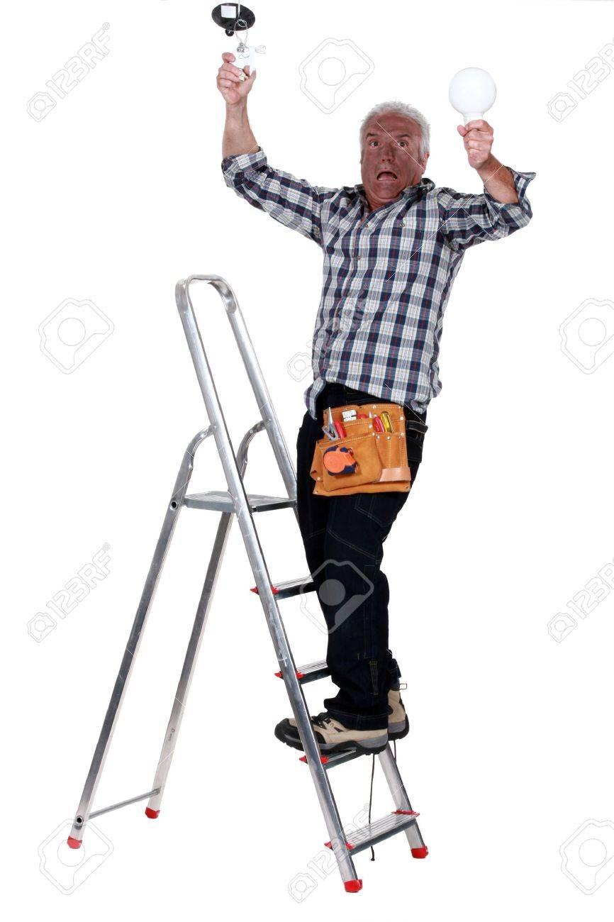 Man getting an electric shock Stock Photo - 11457281