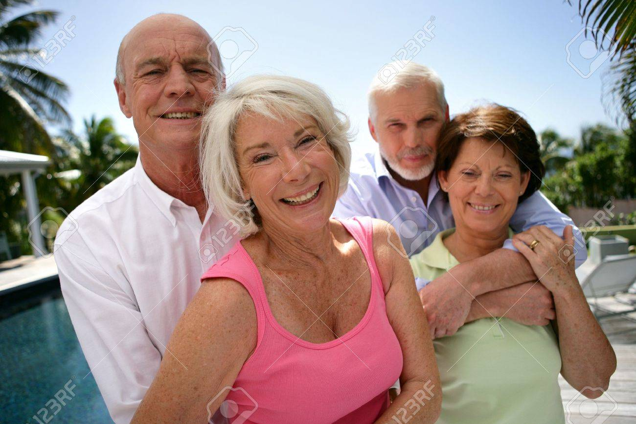 two senior couples on vacation Stock Photo - 11457116