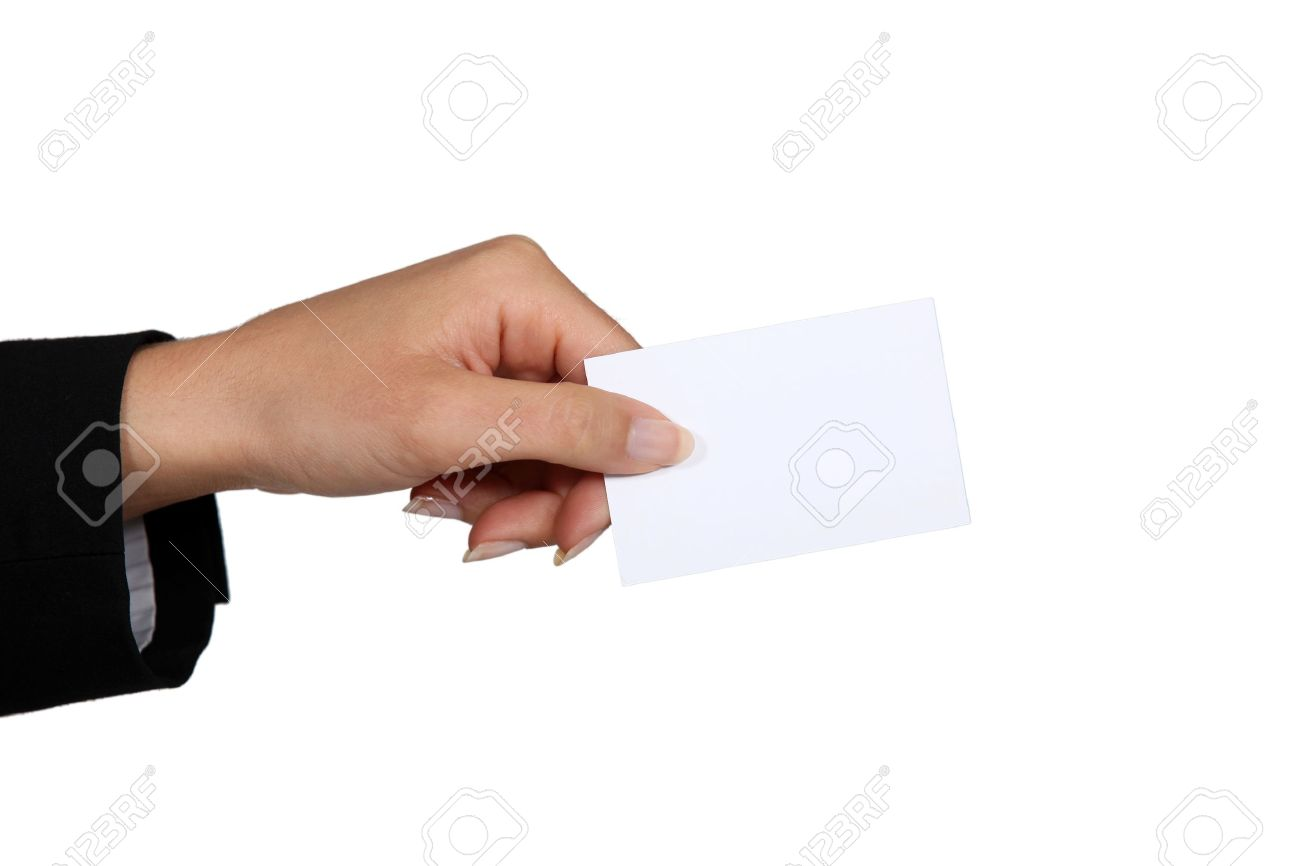 Female Hand Giving Business Card Stock Photo, Picture And Royalty ...
