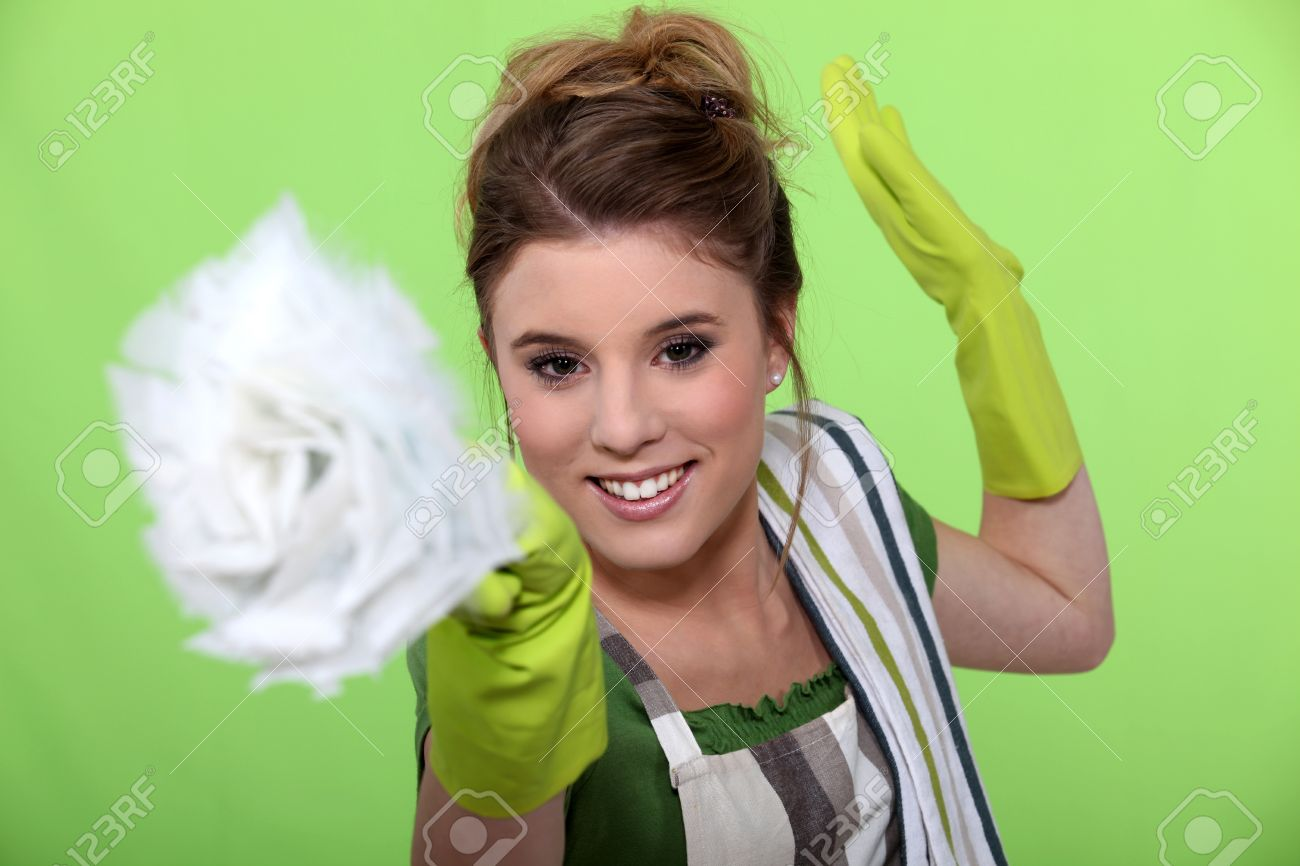 Fun woman doing household chores Stock Photo - 11603064