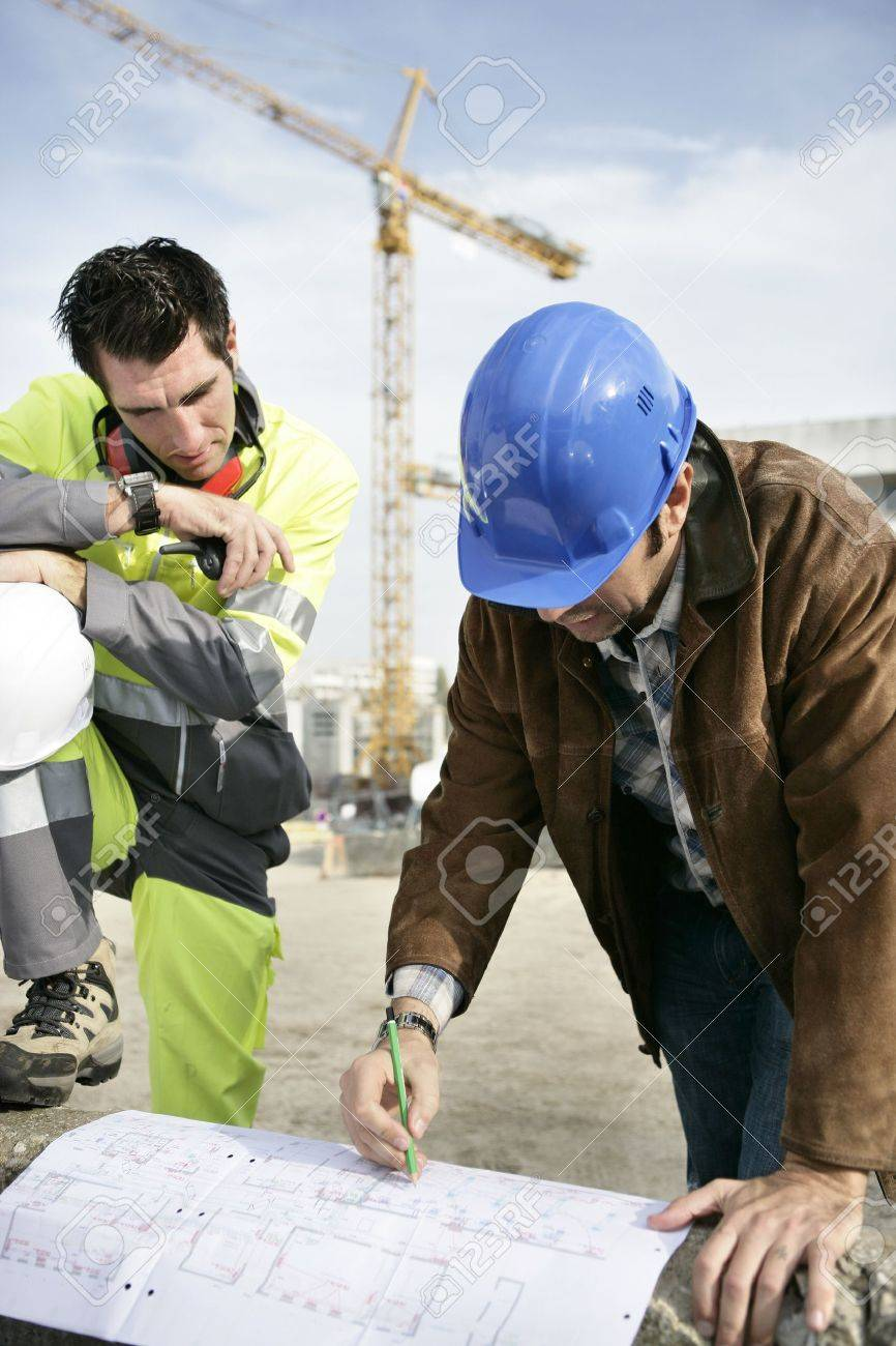 Foreman with site plans Stock Photo - 11604093