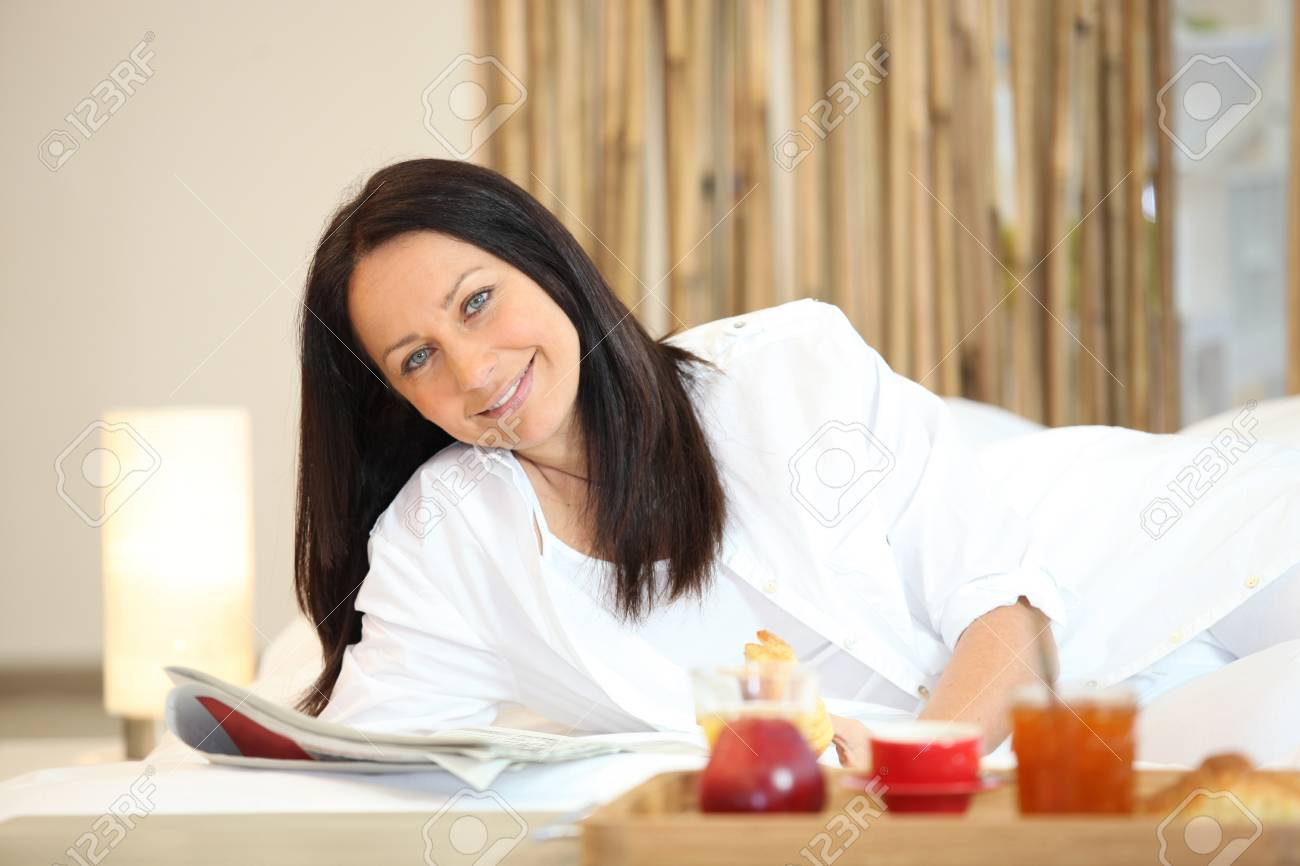relaxing, woman, bathrobe, Stock Photo - 11610259