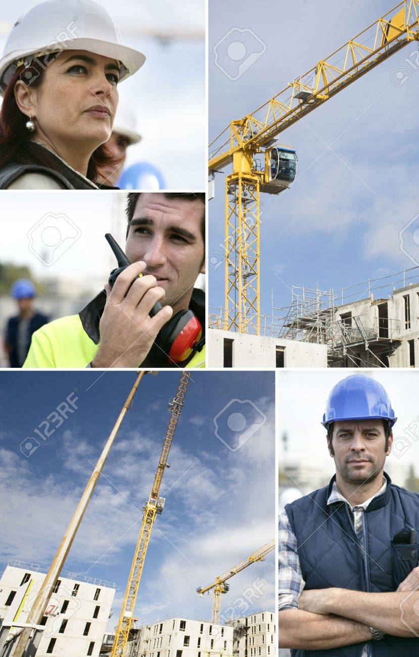 Montage of a team of building workers Stock Photo - 11674365