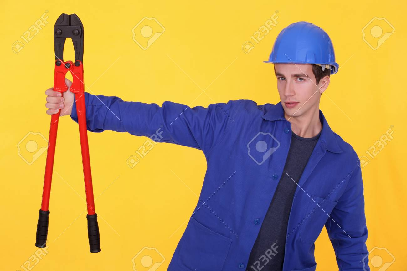 craftsman holding a huge spanner Stock Photo - 11775189