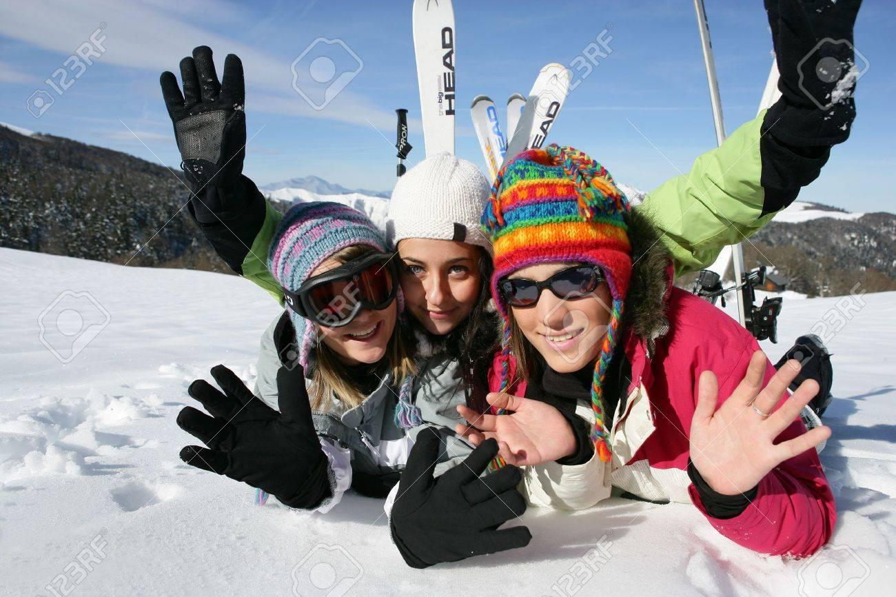 Teenagers on the ski slopes Stock Photo - 11775246