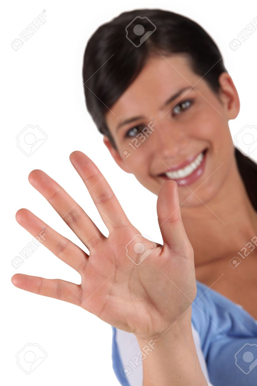Woman holding up her hand Stock Photo - 11797631
