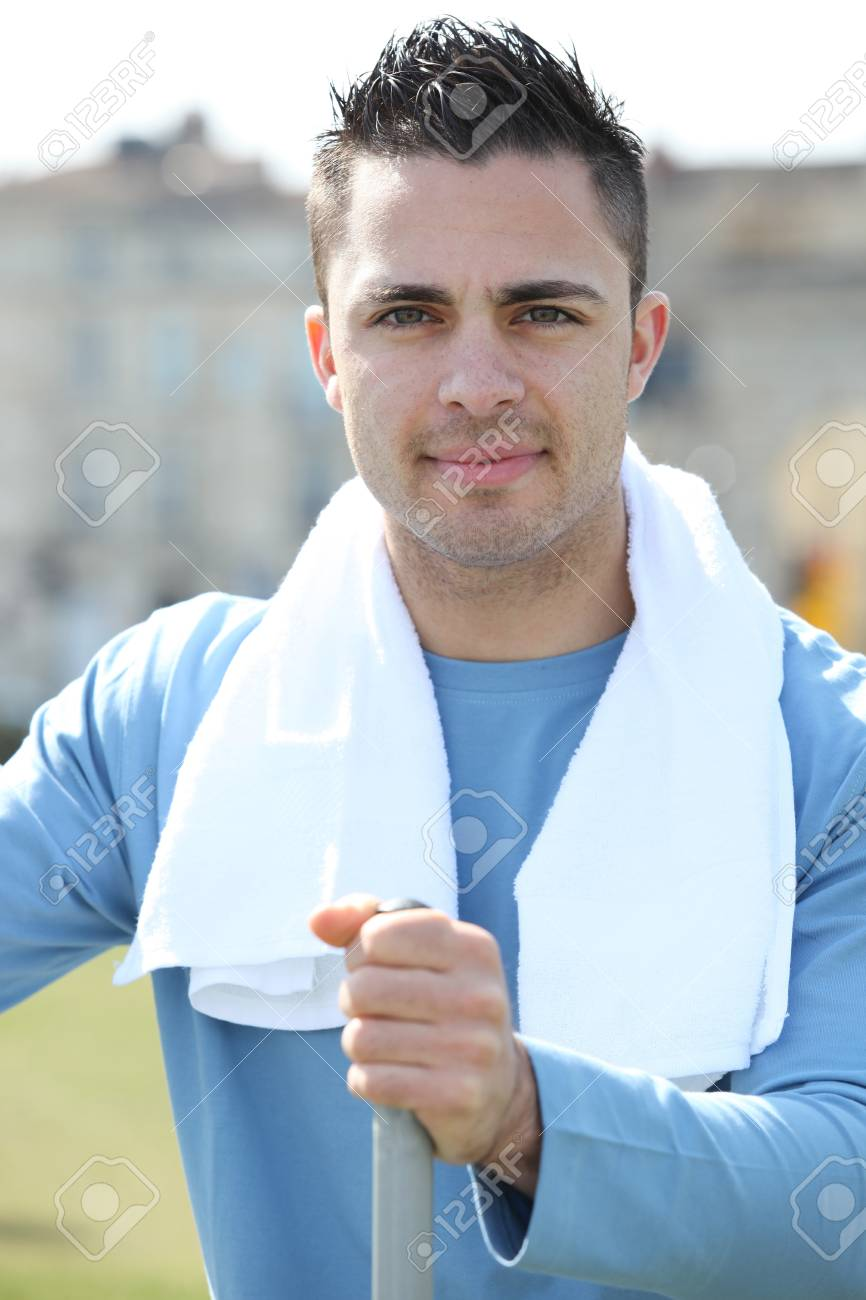 young man training outdoors Stock Photo - 11843801