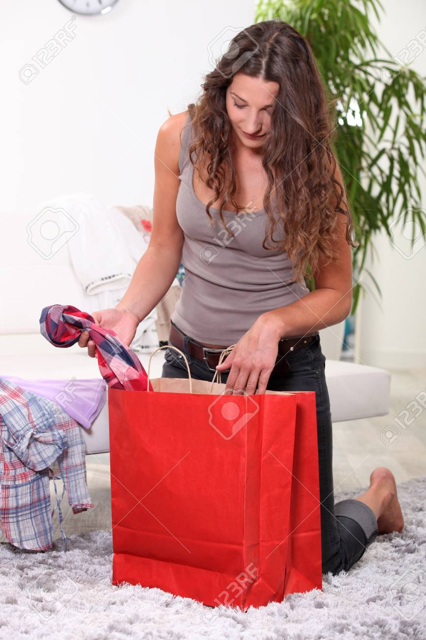 portrait of a woman with shopping bag Stock Photo - 11947038