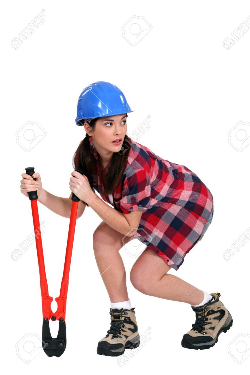 Sneaky woman with a pair of bolt cutters Stock Photo - 12005406