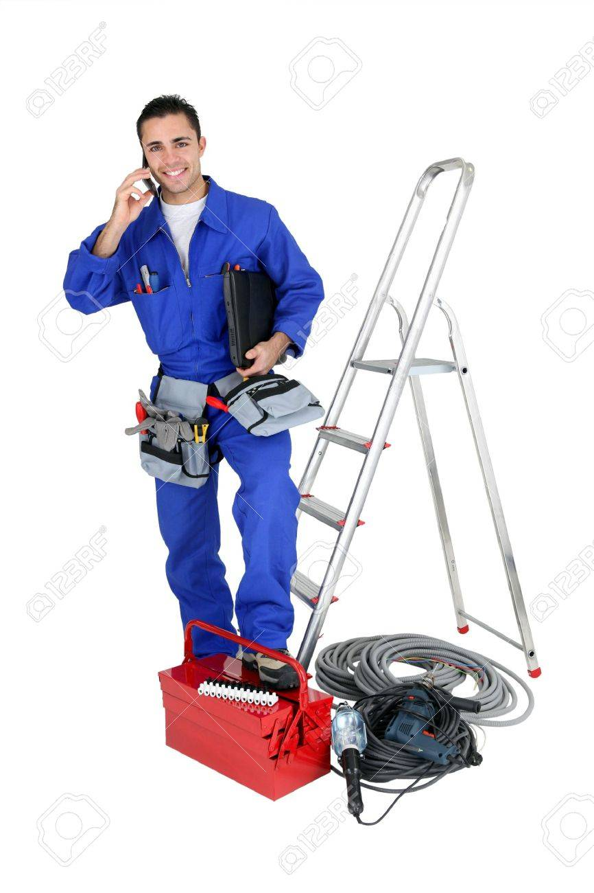 Electrician With Tools And A Telephone Stock Photo, Picture And ...