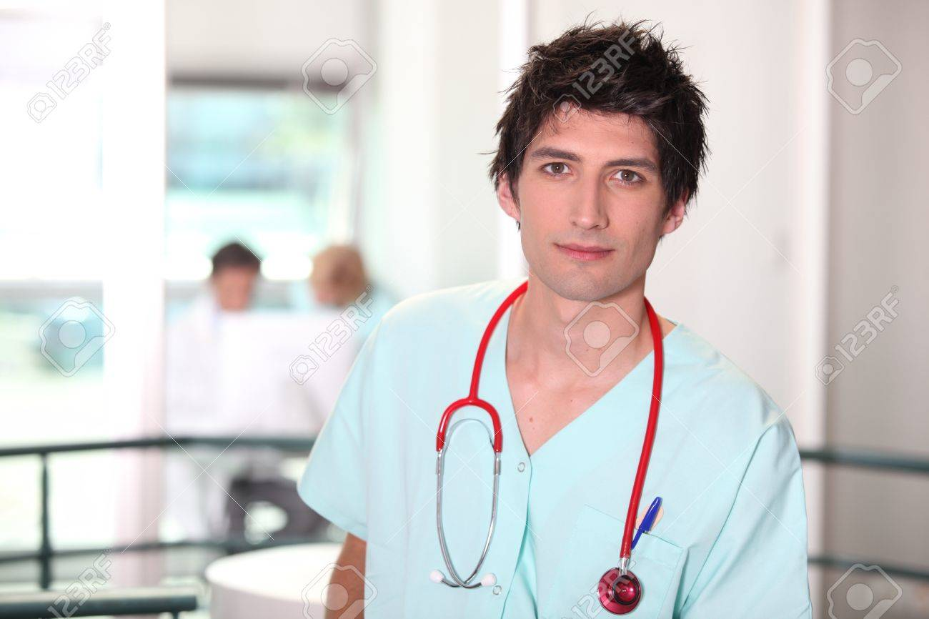 Hospital medic in scrubs with stethoscope Stock Photo - 12091714