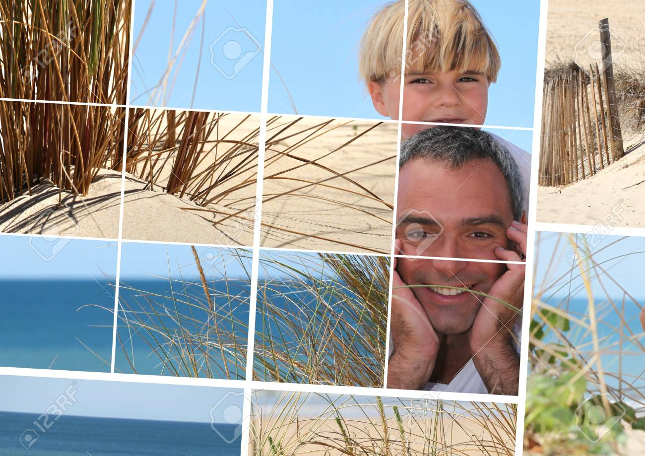 Mosaic of father and sun at the beach Stock Photo - 12133005
