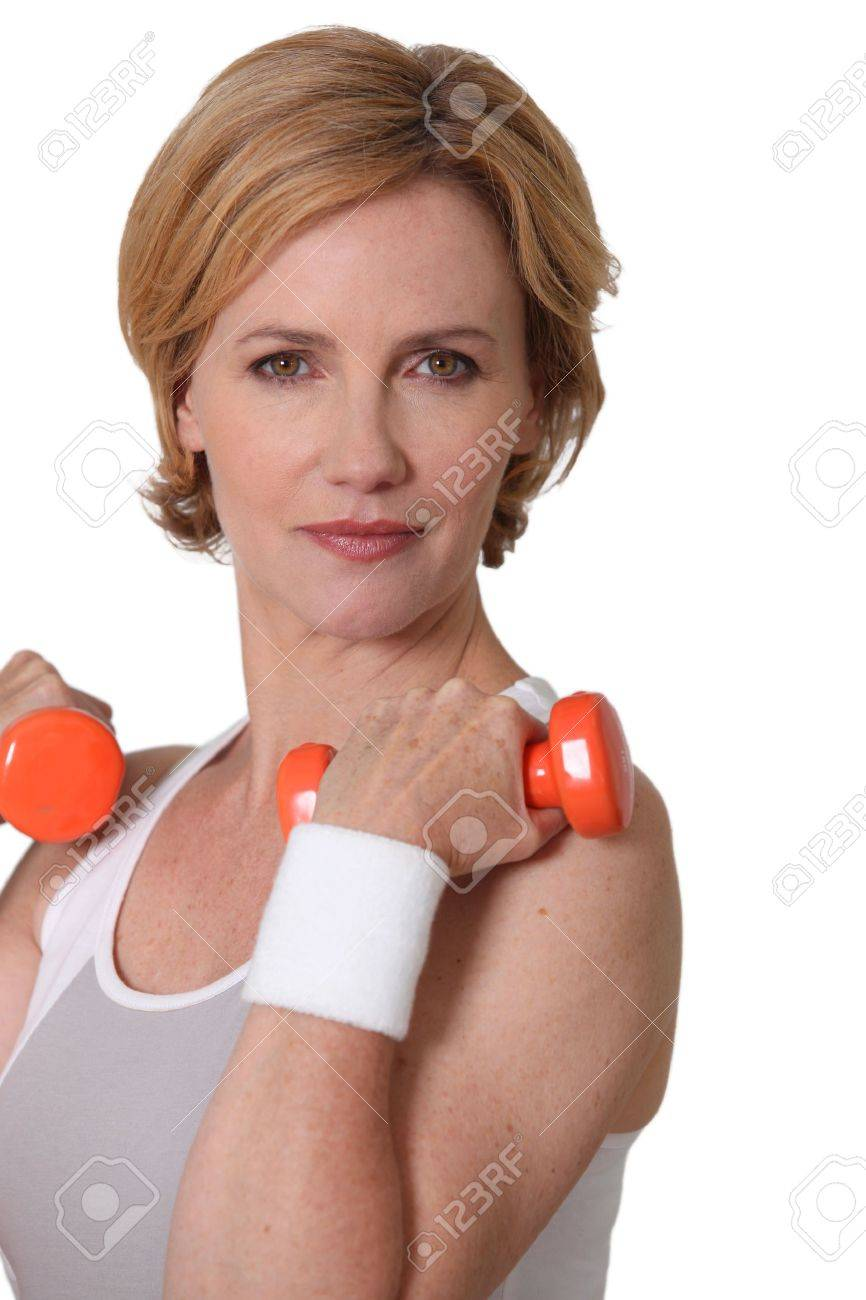 Woman with weights Stock Photo - 12219076