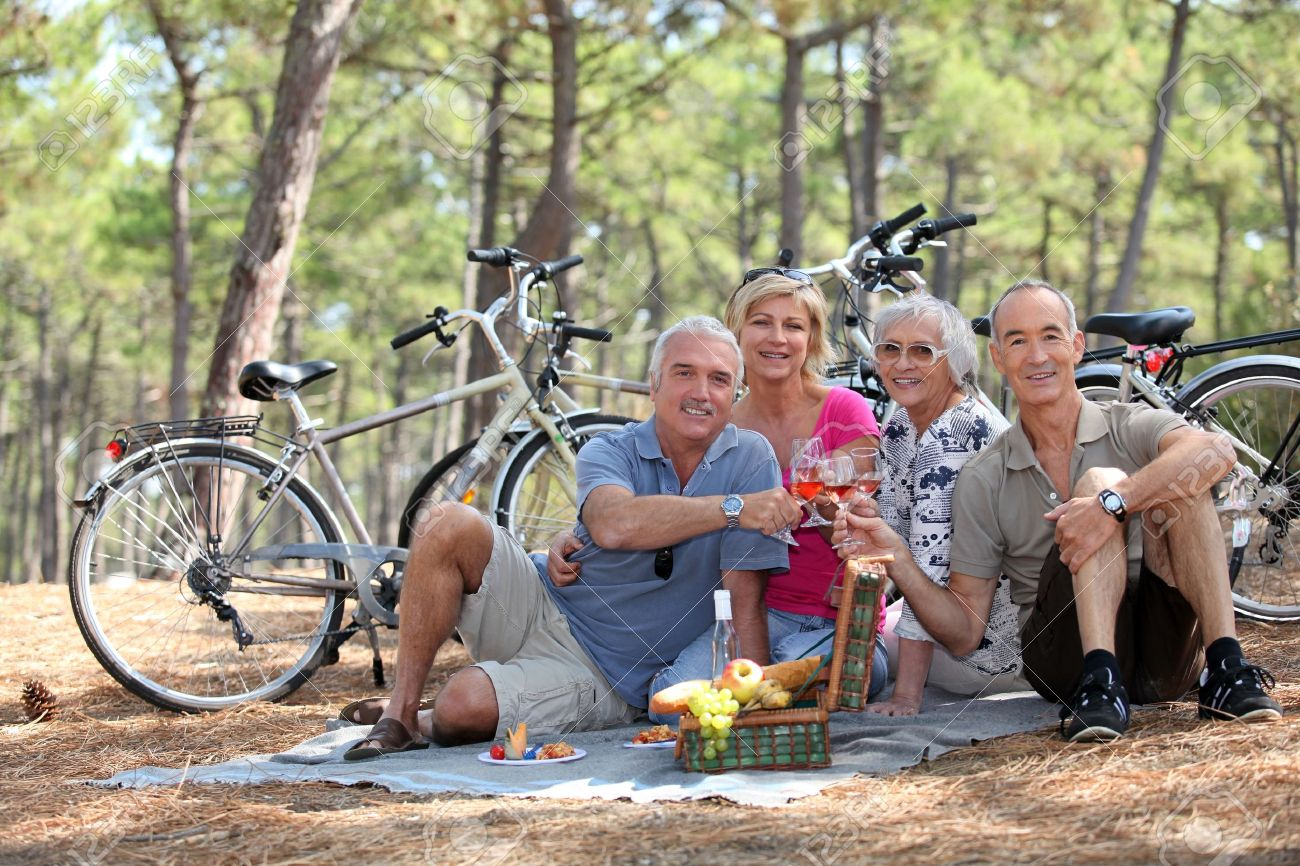 Two middle-aged couple having picnic Stock Photo - 12250493