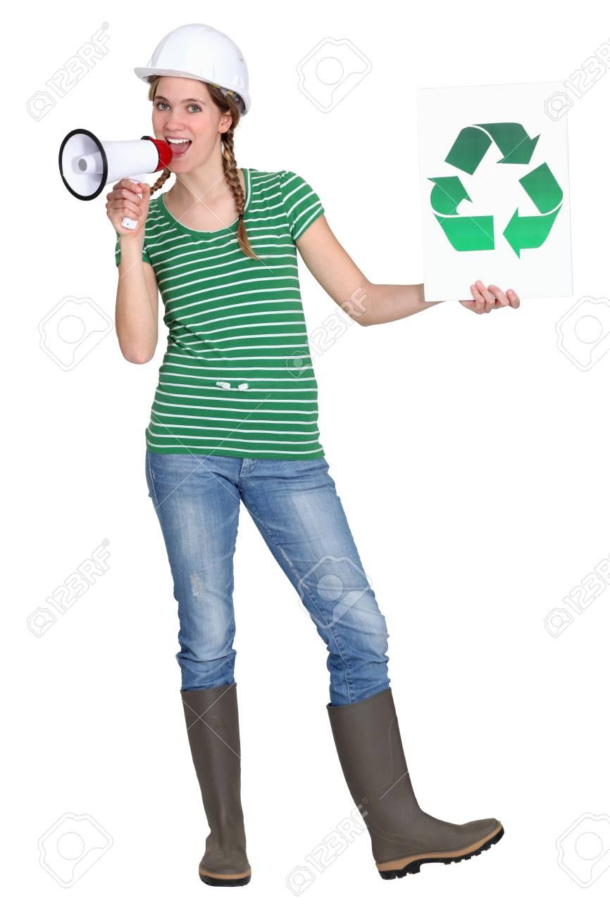 Eco-friendly tradeswoman campaigning Stock Photo - 12250672