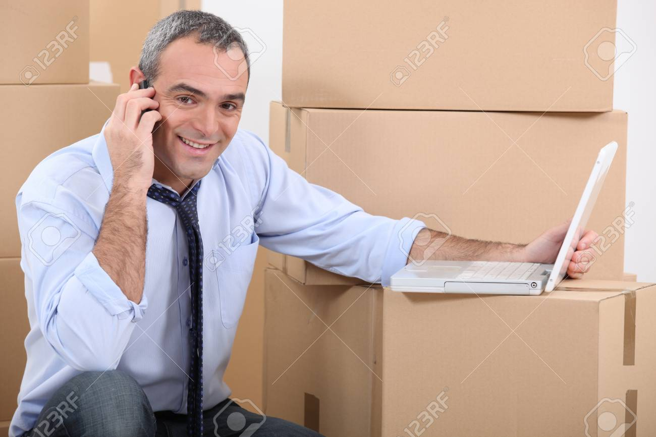 portrait of a man with moving boxes Stock Photo - 12302491