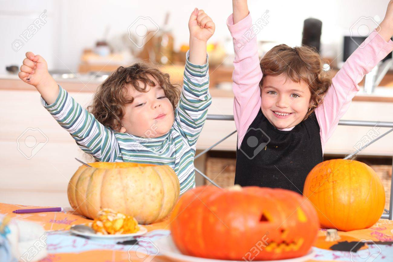 two children at Halloween party Stock Photo - 12302530