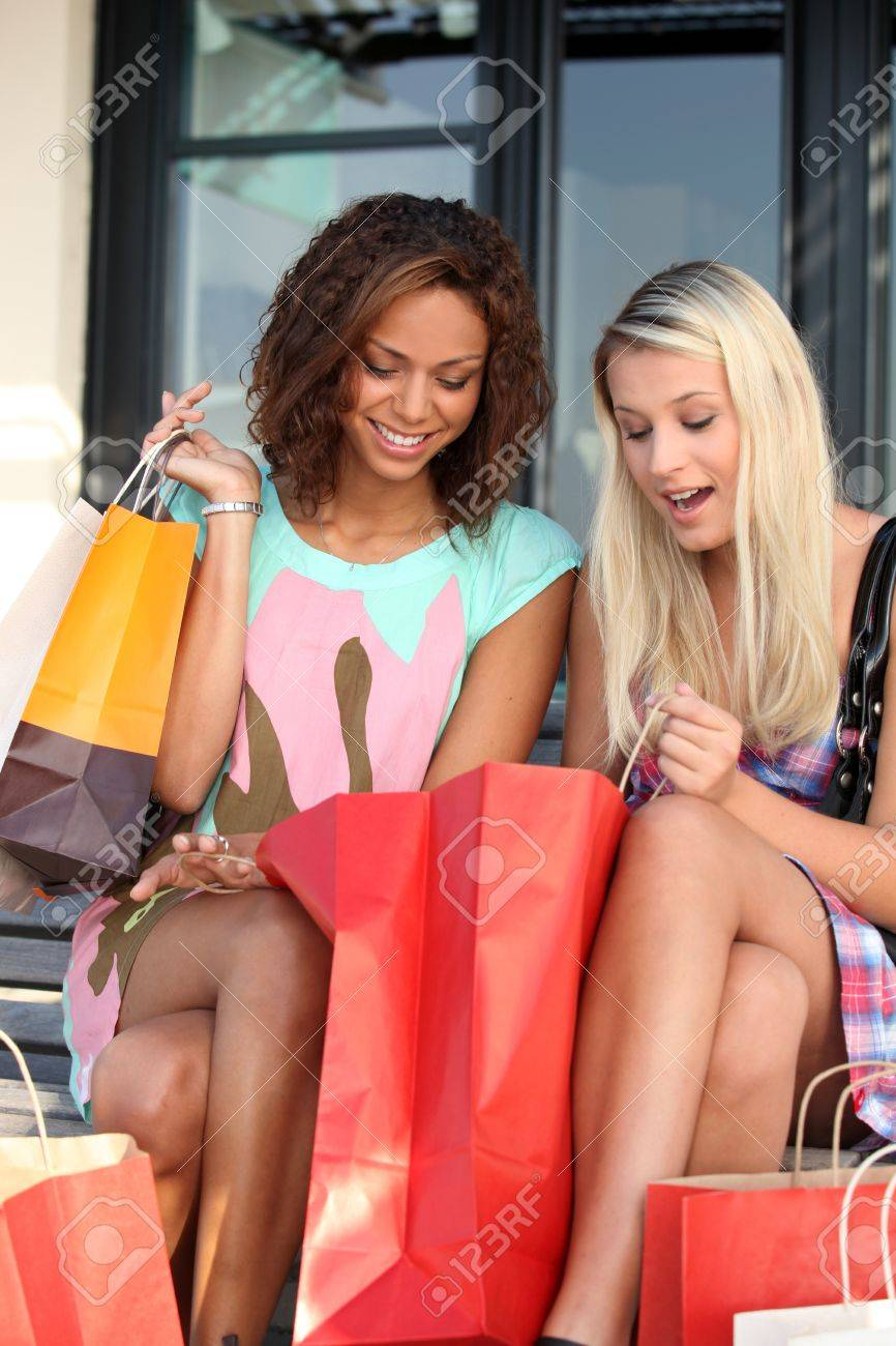 girls ecstatic after shopping frenzy Stock Photo - 12636874