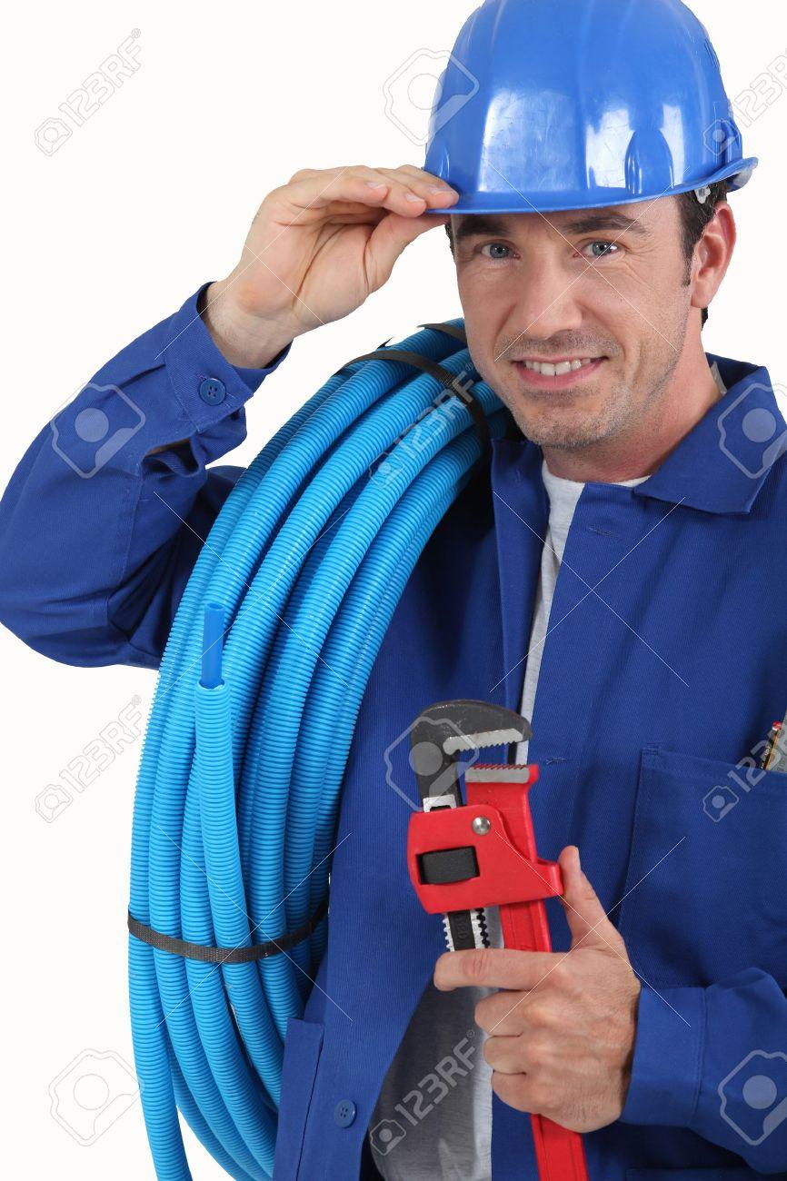 worker with blue helmet Stock Photo - 12596437