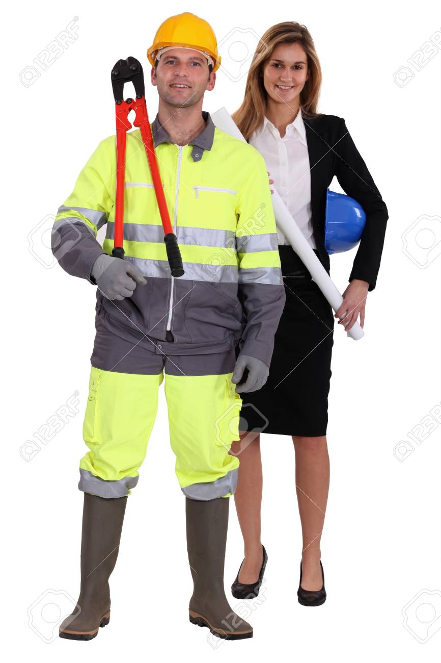 craftsman and businesswoman posing together Stock Photo - 12911312