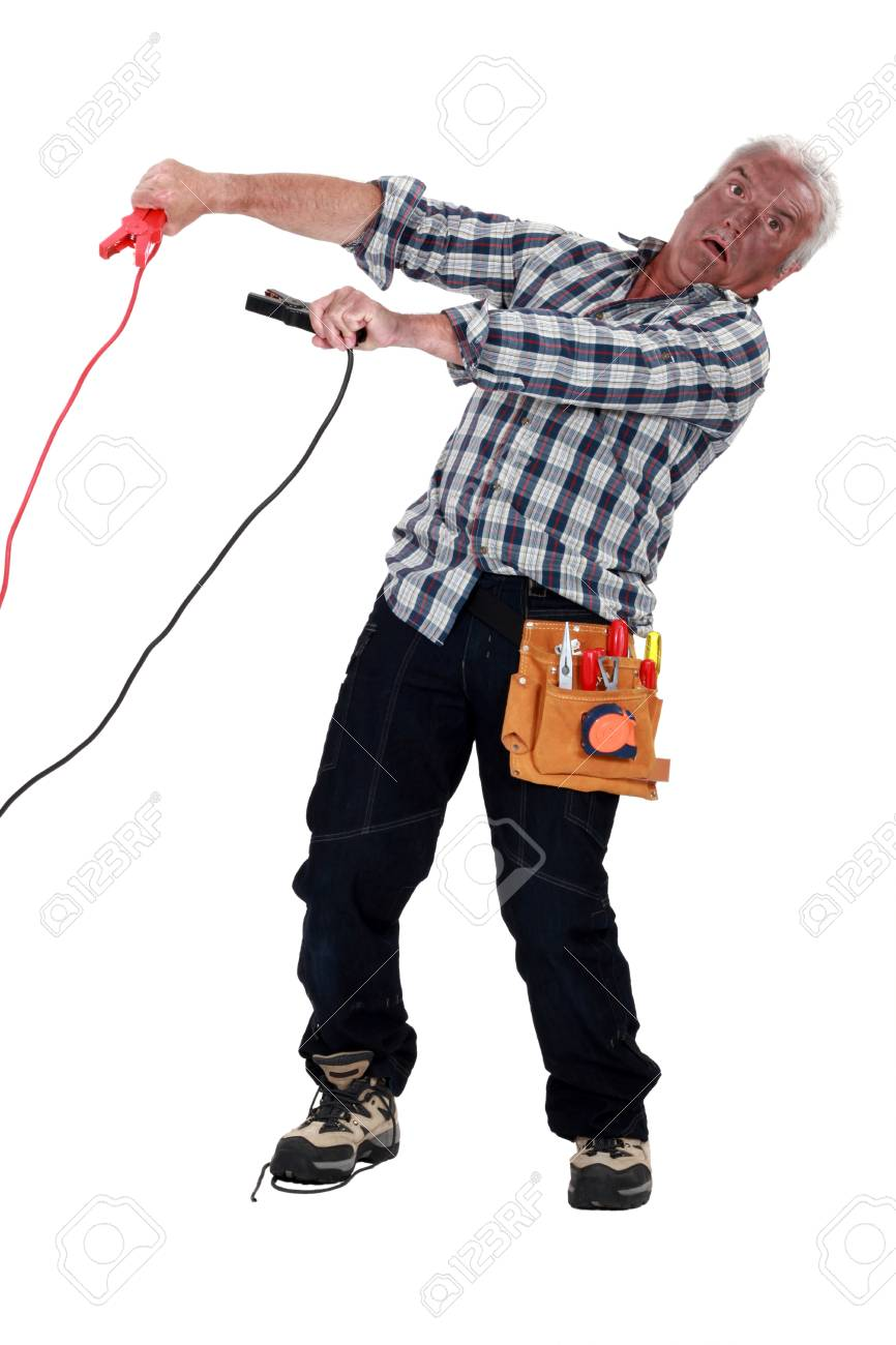 A shocked electrician Stock Photo - 12910603