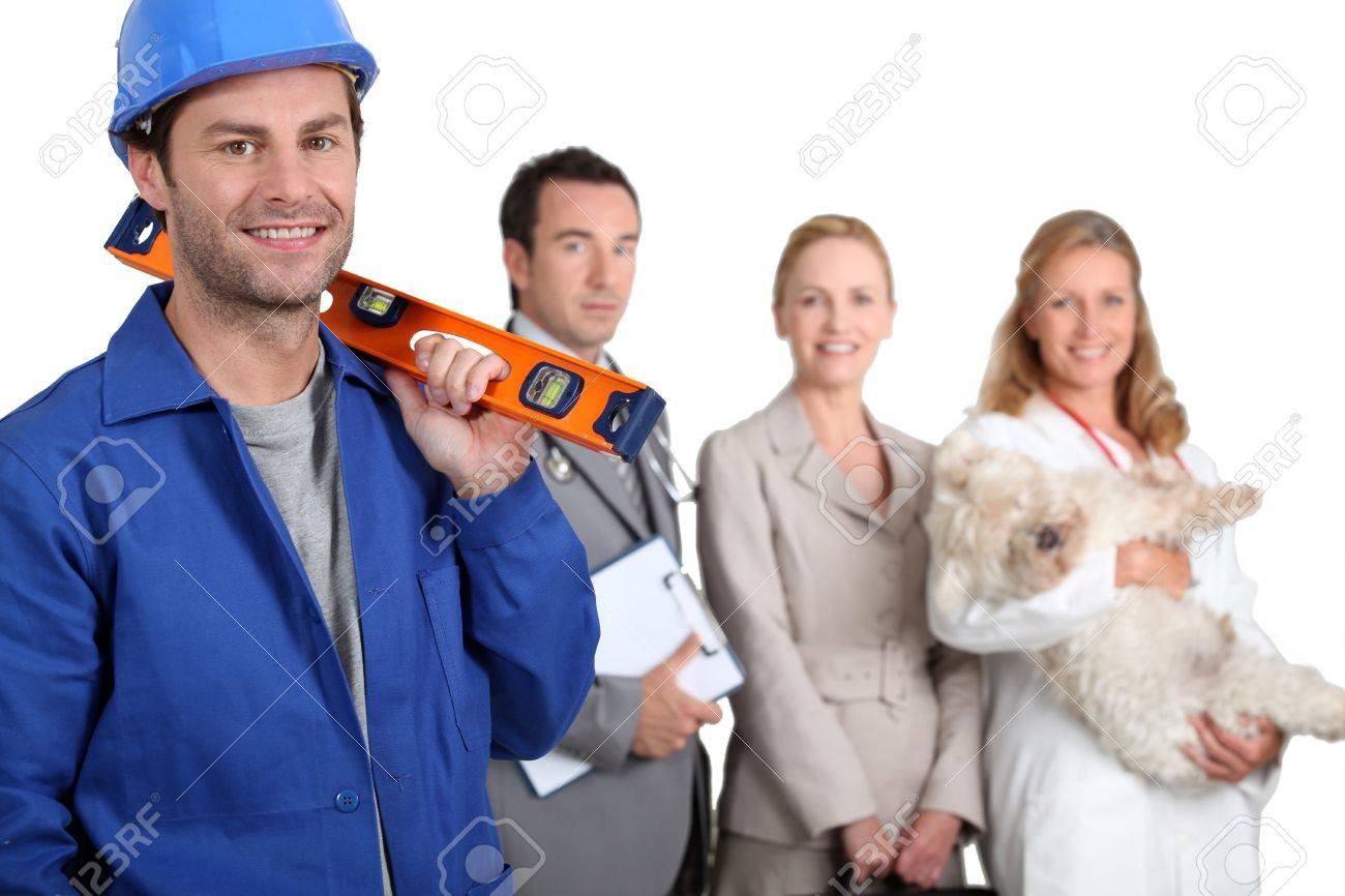 Four workers in different trades Stock Photo - 12529879