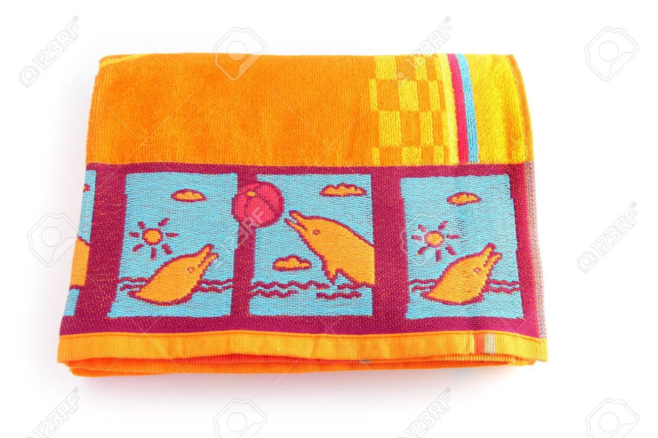 Bright orange beach towel Stock Photo - 13344092