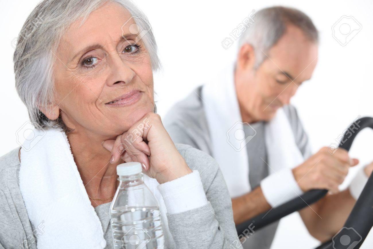 senior couple training Stock Photo - 13457281